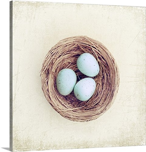 Canvas On Demand Premium Thick-Wrap Canvas Wall Art Print entitled Bird nest with blue baby robins eggs against neutral textured background.