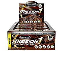 MuscleTech mission1 clean protein bar chocolate brownie 12 bars