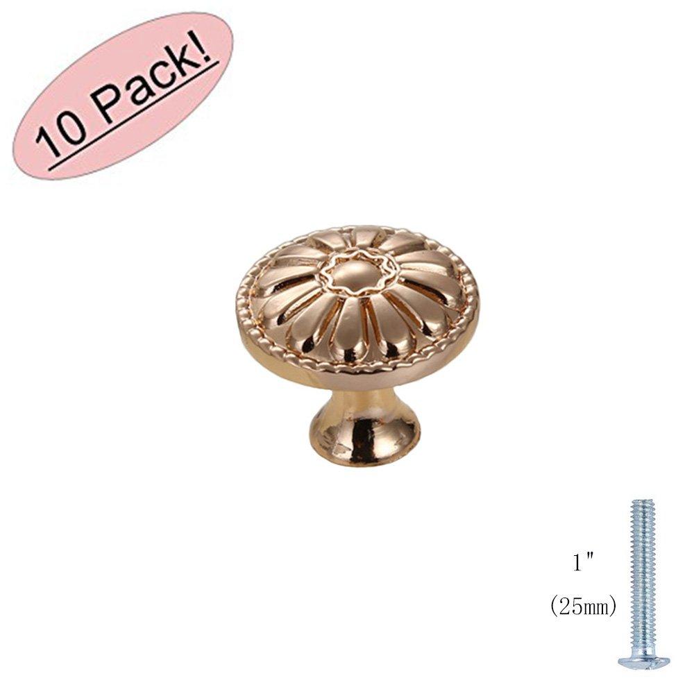 MATMO Modern Drawer Knobs, Euro Cabinet & Furniture Pulls, 0.98'' Diameter Single Hole, Rose Gold, 10-Pack
