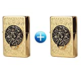 Zippo Lion Gate Gold Lighter 1 + 1 / 2 PCS / Genuine / Org Packing (6 Flints 2 sets Free Gift)