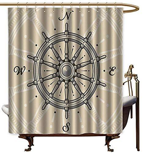 (StarsART Shower Curtains Purple Grey Ships Wheel Decor,Vintage Ship Wheel Antique Sailboat Navigation Tool Monochromic Nostalgic Deco,Olive Green and Beige,W72 x L72,Shower Curtain for Girls)