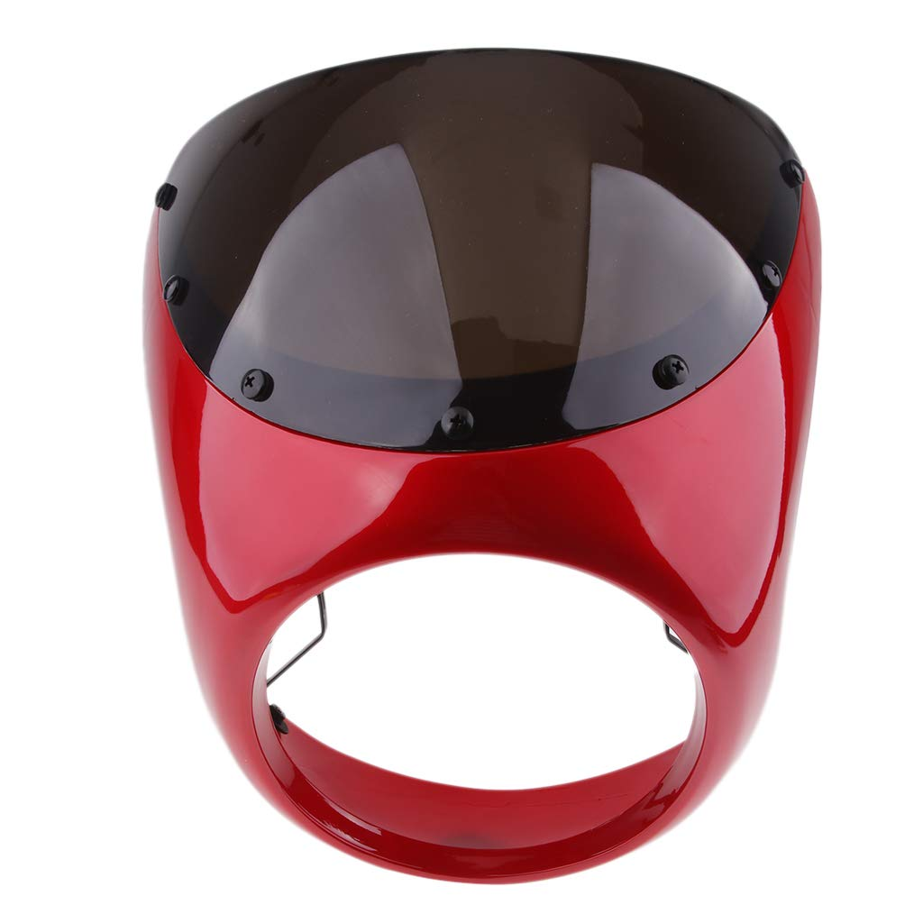 D DOLITY Motorcycle Front Headlight Fairing Screen Retro Cafe Racer Style Universal Windshield Fit 7 Inch Head Light Red