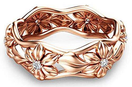 - TEMEGO 14K Rose Gold Vintage Hawaiian Plumeria Flower Eternity Ring,Leaf CZ Daisy Flower Wedding Band