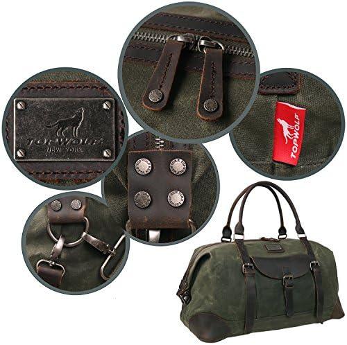 "Canvas Duffel Bag TOPWOLFS 22"" Travel Duffle Bag Tote Large Holdall Bag Luggage Carry On Weekender Bag Waterproof Waxed Canvas"