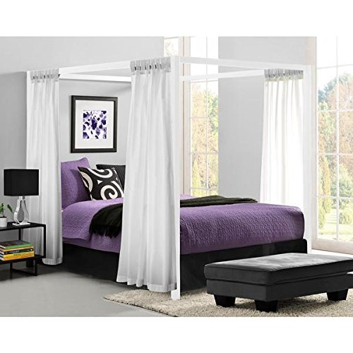 Calisto European-Style White Metal Canopy Bed (Queen)