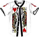 Pizoff Unisex Hipster Short Sleeve V-Neck Button Down King of Hearts Print Team Building T-Shirt Baseball Dance Sport Jersey Cardigan Top Y1724-5-L