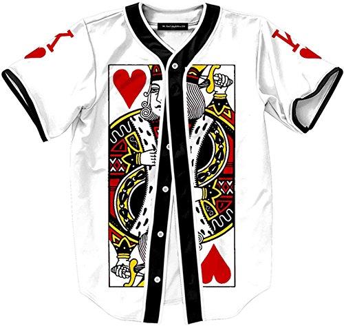 Pizoff Unisex Hipster Casual Jersey Top Open T Shirt Cardigan Poker Print Buckle Sport Baseball Coat Y1724-5-XXL
