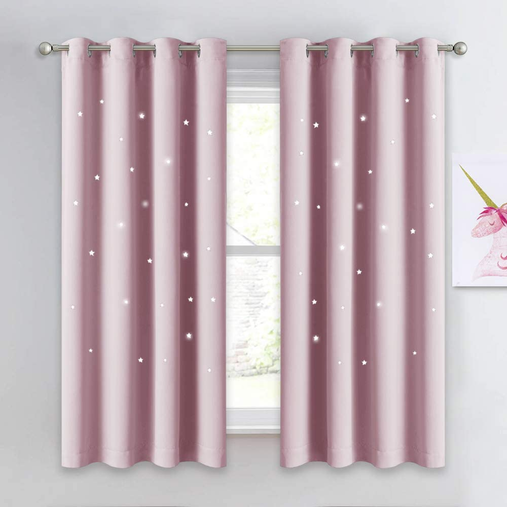 Lavender Pink=Baby Pink, Set of 2 Panels, 52 x 63 NICETOWN Star Window Curtains for Children Star Stamp Cut Room Darkening Drapes and Draperies for Girls Room