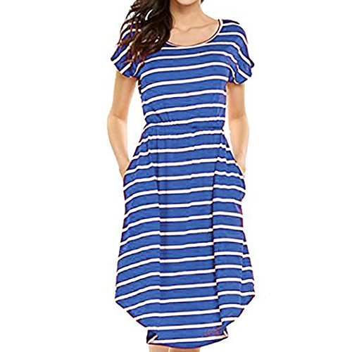 Sexy Summer Striped Casual Loose Short Sundress With Pockets Elastic Waist Skirt (XL, Blue) ()