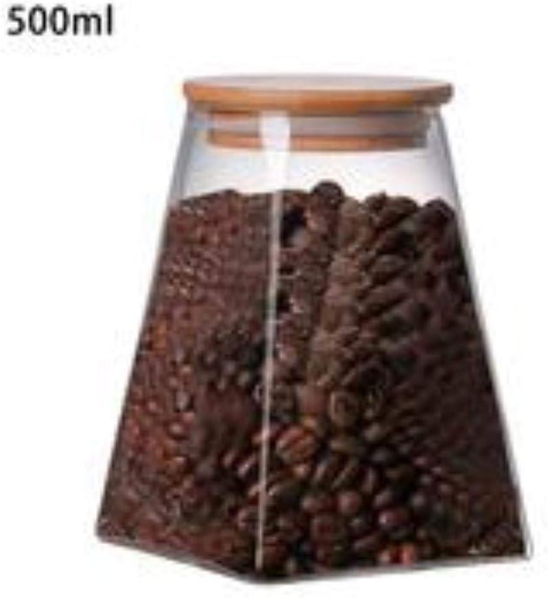 JPZCDK Tarro Sellado de Vidrio Transparente Botella de Almacenamiento sellada con frascos de Caramelo de Corcho Redondo Cajas de té Contenedor de Granos de Alimentos de Almacenamiento, B500 ml