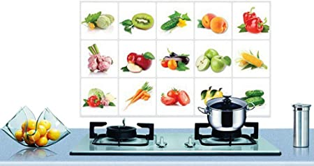 Vpbao Fruit Vegetable Self Adhesive Wall Tile Decals Sticker Oil Proof Waterproof Kitchen Wall Tiles Transfers Amazon Co Uk Kitchen Home