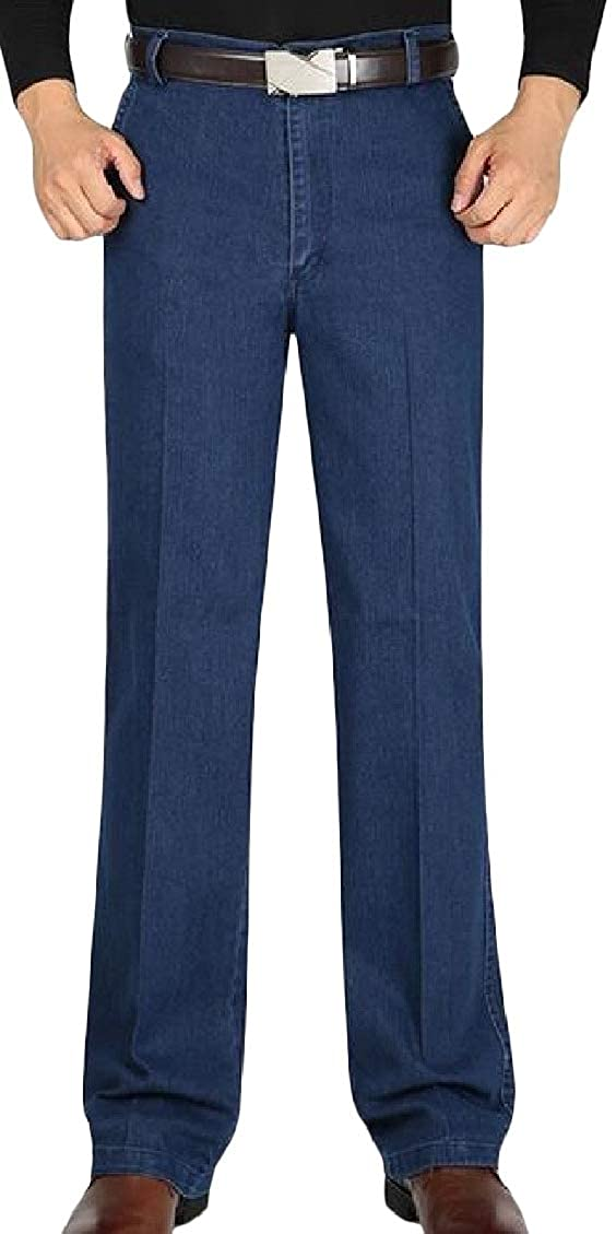 Hajotrawa Mens Classic Stretch Faded Jean Denim Straight Leg Pants