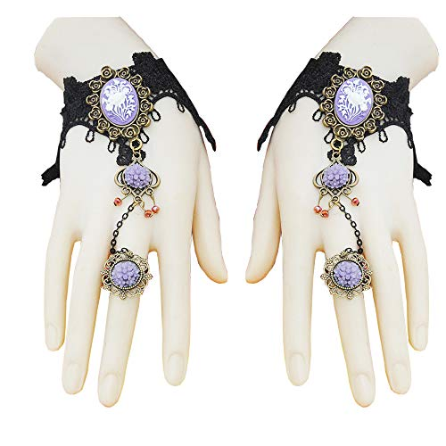Jurxy Black Lace Fingerless Gloves Women Flower Crystal Floral Steampunk Wristband Ring Imitation Gemstone Handmade Gloves Bridal Bracelet Ring Set - 1 Pair