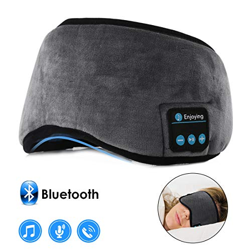 Bluetooth Sleeping Eye Mask Wireless Headphone, WALLFIRE Adjustable Music Bluetooth Sleep Earphones Headsets, Built-in 4.2 Speakers Microphone Handsfree fit for Air Travel and Sleeping (Grey)
