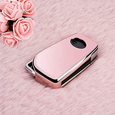 M.JVisun Soft TPU Case Cover Protector Case for Toyota Flip Key Fob, Car Remote Key Fob Case for Toyota Levin Camry Highlander Corolla RAV4 Fortuner Fob Remote Key - Glossy Pink - Braided Keychain: Automotive