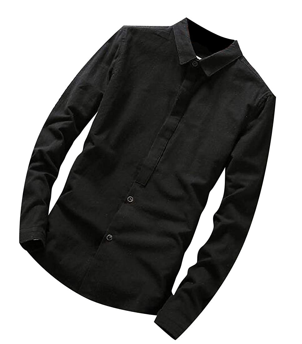 Tingwin Men Solid Casual Slim Fit Long Sleeve Wild Turn-Down Collar Work Shirt
