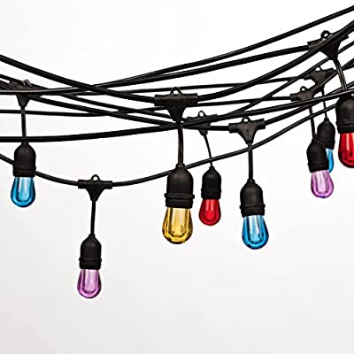 LED Outdoor String Lights for Patio ,Bedroon,Gardens, Home, Dancing, Party,Commercial Grade String Lighting-24 Feet UL Listed-8 Hanging Sockets