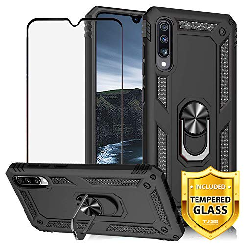 TJS Case Compatible for Samsung Galaxy A50 2019, with [Full Coverage Tempered Glass Screen Protector][Impact Resistant][Defender][Metal Ring][Magnetic][Support] Heavy Duty Armor Phone Cover (Black)