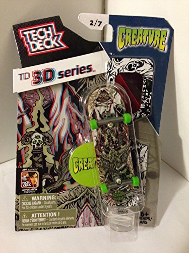 Tech Deck TD 3D Series Creature 3/7 mini Skate Board with Display Stand & 3D - Display Deck Tech