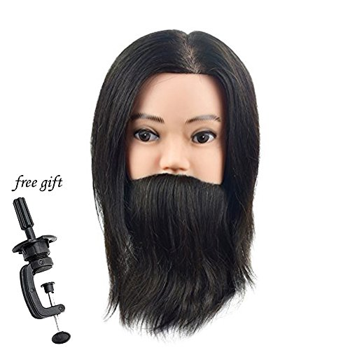 10 Male Mannequin Head 100% Human Hair Cosmetology Training Head with Beard Manikin Doll Head(A Free Clamp)