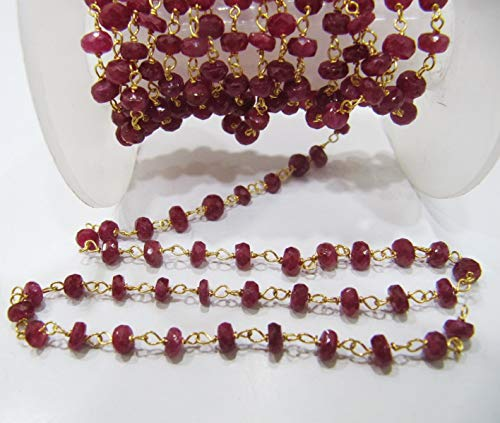 3 Feet AA Quality Natural African Ruby 18 Kt Pure Gold Rosary Beaded Chain Rondelle Faceted 4mm Ruby Red Color Beads Chain by LadoNarayani