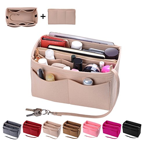 - Purse Organzier, Bag Organizer with Metal Zipper (Medium, Beige)