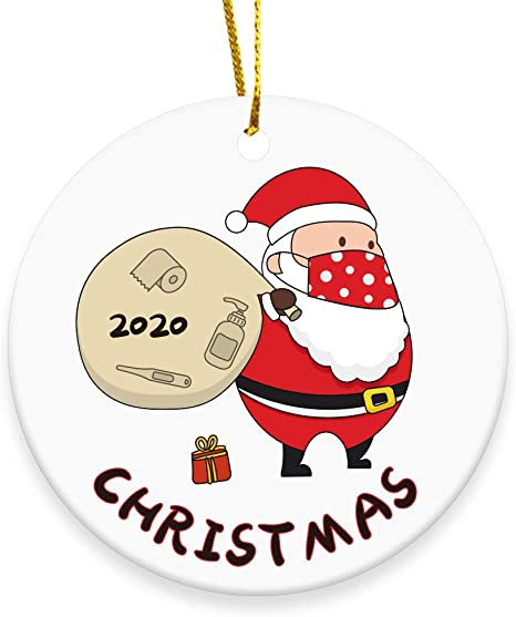 2020 Merry Christmas Ornaments Gift Cute Masked Santa Claus Holiday Xmas Tree Ornament Hanging Accessories 3 Inch Round Ceramic Home Decor Kitchen Dining