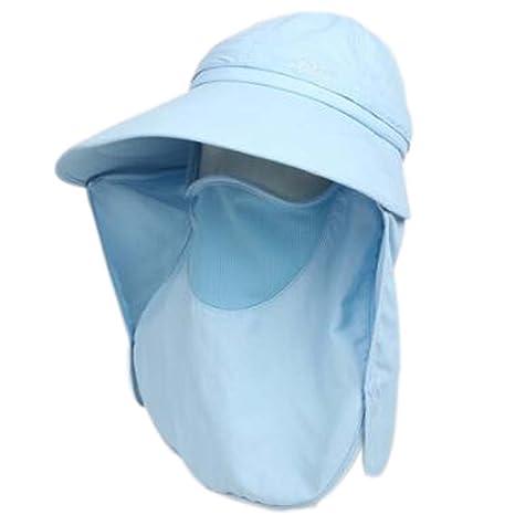 0431fb2c082 Amazon.com  PANDA SUPERSTORE Summer Hat Sun Flap Cap Detachable Wide Brim  Womens Neck Cover Face Mask UPF 50+  Sports   Outdoors