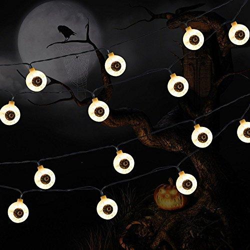 10 LED Lampion Ghost Eyes String Lights for Halloween Party Decor Halloween String Light Dance Party Hallowen Decoration Kangkang (White) ()