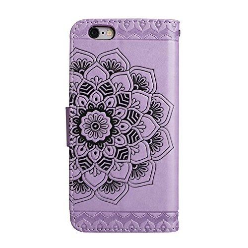 iPhone 6/6S Brieftache,Flip Handyhülle für iPhone 6 4.7 Zoll, Aeeque iPhone 6 6S (4.7) [Einzigartig Palme Blumen Augen] Kartenfach Standfunktion mit Abnehmbar Handy Lanyard und Weich Silikon Innere Sc Mandala Muster Lila
