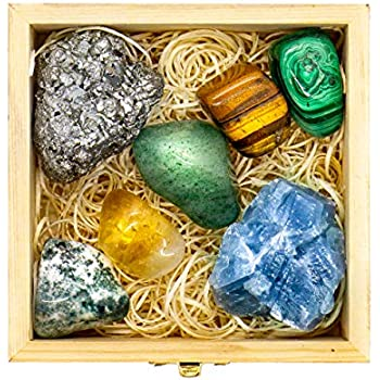 Premium Grade Crystals and Healing Stones for Abundance and Prosperity in Wooden Box - Malachite, Pyrite, Citrine, Aventurine, Blue Calcite, Tree Agate, Tiger's Eye Gemstones + Info Guide, Gift Kit