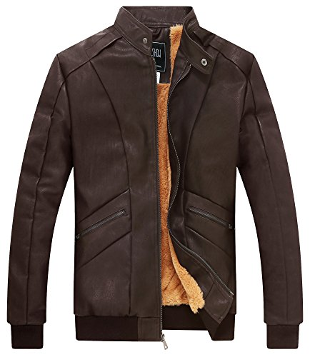 ZSHOW Men's PU Faux Leather Winter Jacket Casual Wear with Fleece Liner(Brown Wool,X-Small) ()