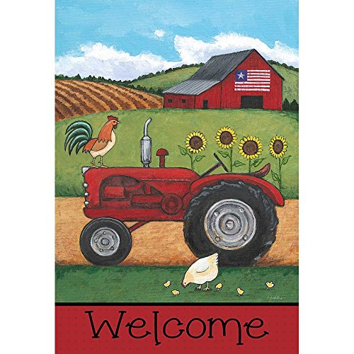 Welcome Patriotic Barn and Farm Tractor 44 x 30 Rectangular Screenprint Large House Flag
