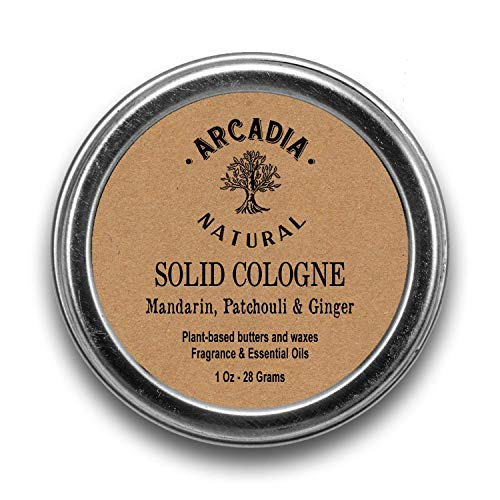- Mandarin, Patchouli & Ginger Solid Cologne - Handcrafted with 95% natural oils and butters, Vegan and alcohol-Free cologne