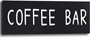 Coffee Bar Decor Sign White Words Dark Black Background Pictures Canvas Print Wall Art Home Kitchen Office Coffee Corner Bar Sign Wall Decoration 6x18 inches Framed thwartwise Hanging Artwork
