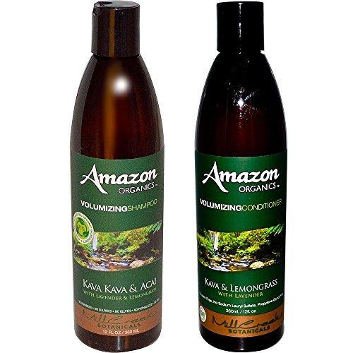 Performance Volumizing - Mill Creek Botanicals Amazon Volumizing Natural 71% Organic Shampoo and Conditioner Bundle With Acai Berry, Lavender, Lemongrass, Witch Hazel, Aloe Vera, Jojoba and Rosemary, 12 fl. oz. each