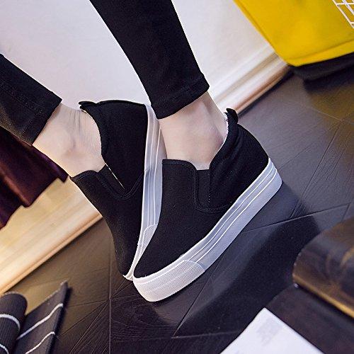 Buganda Damenmode Leder Turnschuhe Casual Lace Up Weiß Schwarz Flache Schuhe High Top Versteckte Ferse Keile Plateauschuhe Schwarz