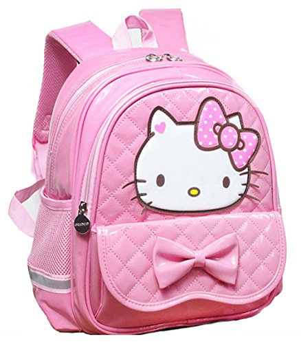 YOURNELO Pretty PU Leather Hello Kitty School Backpack Bookbag (A Pink, L) ()