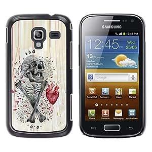 Eason Shop / Hard Slim Snap-On Case Cover Shell - Skull Heart Anatomy Crossbones - For Samsung Galaxy Ace 2 I8160 Ace II X S7560M