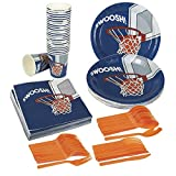 Disposable Dinnerware Set - Serves 24 - Basketball Party Supplies - Includes Plastic Knives, Spoons, Forks, Paper Plates, Napkins, Cups