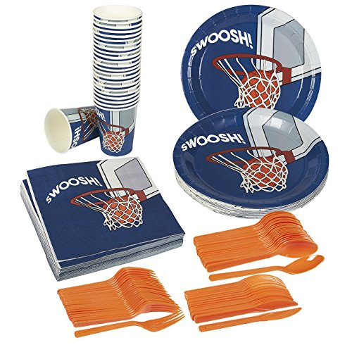 New Disposable Dinnerware Set - Serves 24 - Basketball Party Supplies - Includes Plastic Knives, Spo...