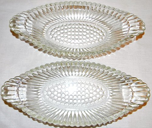 Oval Pressed Glass Hobnail Relish Dish - Set of Two