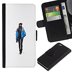 EJOY---Tirón de la caja Cartera de cuero con ranuras para tarjetas / Apple Iphone 6 / --Goth polluelo