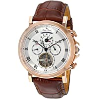 Lucien Piccard Men's 'Acropolis' Stainless Steel and Leather Automatic Watch, Color:Brown (Model: LP-40021A-RG-02S-BRW)