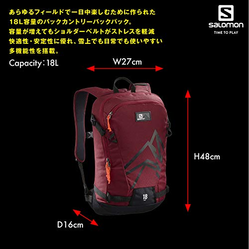 Red Salomon 18 Biking Side Lightweight Skiing Backpack Black rYwxYzFq5