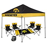 NCAA Hall of Fame Tailgate Bundle - University of Iowa (1 9x9 Canopy, 4 Kickoff Chairs, 1 16 Can Cooler, 1 Endzone Table)