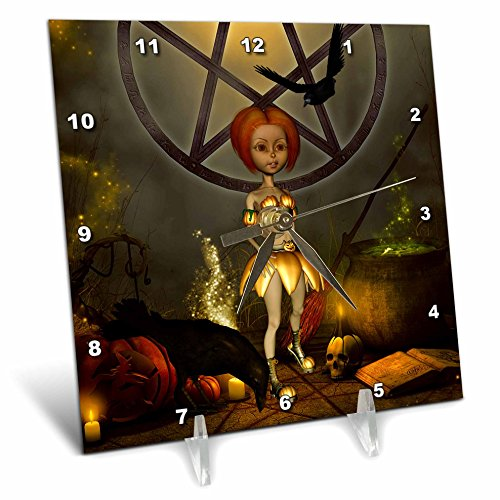 Cute Halloween Desktop Pics (3dRose Heike Köhnen Design Holiday - Halloween, cute girl with pumpkin, skull and crow - 6x6 Desk Clock (dc_266387_1))