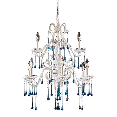 Opulence 9 Light (Alumbrada Collection Opulence 9 Light Chandelier In Antique White And Aqua Crystal)