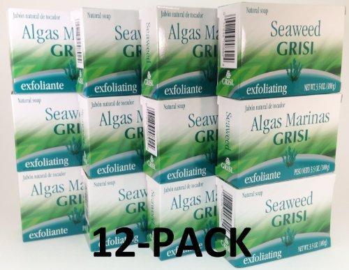 Seaweed Soap Exfoliating - 12pk - Seaweed Soap - Jabon de Algas Marinas - Grisi (3.5 Oz. X 12 Units)