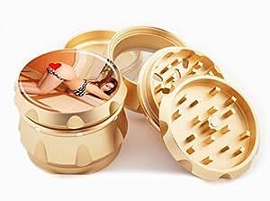 "Asian Girl Design Premium Grade Aluminum Tobacco,Herb Grinder -4Pcs Large (2.5"" Gold) # GLD-G121114-0015"